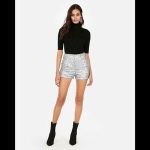Express Super High Waisted Sequin Shorts 16